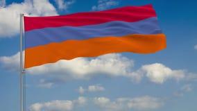 Σημαία της Αρμενίας - εναλλακτική λύση στο κλίμα του ουρανού σύννεφων απεικόνιση αποθεμάτων
