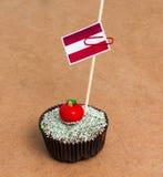 Σημαία της Αυστρίας σε ένα cupcake Στοκ εικόνες με δικαίωμα ελεύθερης χρήσης