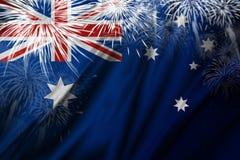 Σημαία της Αυστραλίας με την απεικόνιση υποβάθρου πυροτεχνημάτων Στοκ Εικόνες