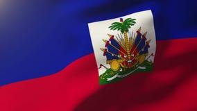 Σημαία της Αϊτής που κυματίζει στον αέρα Άνοδοι ήλιων περιτύλιξης απόθεμα βίντεο