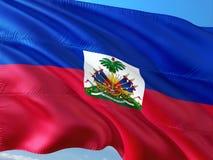 Σημαία της Αϊτής που κυματίζει στον αέρα ενάντια στο βαθύ μπλε ουρανό r στοκ εικόνα με δικαίωμα ελεύθερης χρήσης