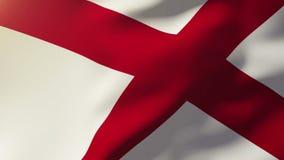 Σημαία της Αλαμπάμα που κυματίζει στον αέρα Άνοδοι ήλιων περιτύλιξης ελεύθερη απεικόνιση δικαιώματος