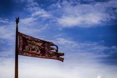 Σημαία της Βενετίας, κύριο σύμβολο της Βενετίας το χρυσό φτερωτό λιοντάρι του σημαδιού Ευαγγελιστών Στοκ Εικόνες