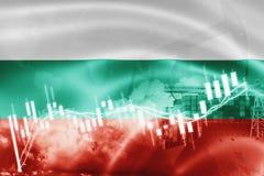 Σημαία της Βουλγαρίας, χρηματιστήριο, οικονομία ανταλλαγής και εμπόριο, παραγωγή πετρελαίου, σκάφος εμπορευματοκιβωτίων στην επιχ ελεύθερη απεικόνιση δικαιώματος