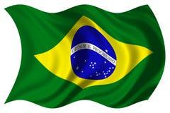 σημαία της Βραζιλίας που απομονώνεται Στοκ Φωτογραφίες