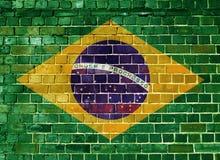 Σημαία της Βραζιλίας σε έναν τουβλότοιχο Στοκ φωτογραφία με δικαίωμα ελεύθερης χρήσης