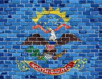Σημαία της βόρειας Ντακότας σε έναν τουβλότοιχο διανυσματική απεικόνιση