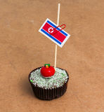 Σημαία της Βόρεια Κορέας σε ένα cupcake Στοκ Φωτογραφία