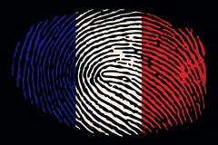 Σημαία της Γαλλίας υπό μορφή δακτυλικού αποτυπώματος σε ένα μαύρο υπόβαθρο ελεύθερη απεικόνιση δικαιώματος