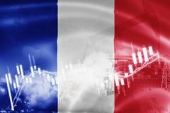 Σημαία της Γαλλίας, χρηματιστήριο, οικονομία ανταλλαγής και εμπόριο, παραγωγή πετρελαίου, σκάφος εμπορευματοκιβωτίων στην εξαγωγή διανυσματική απεικόνιση