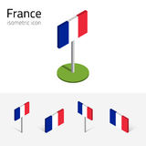 Σημαία της Γαλλίας, διανυσματικό σύνολο τρισδιάστατων isometric εικονιδίων Στοκ Φωτογραφίες