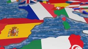 Σημαία της Γαλλίας στον τρισδιάστατο χάρτη διανυσματική απεικόνιση