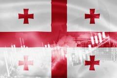 Σημαία της Γεωργίας, χρηματιστήριο, οικονομία ανταλλαγής και εμπόριο, παραγωγή πετρελαίου, σκάφος εμπορευματοκιβωτίων στην εξαγωγ διανυσματική απεικόνιση