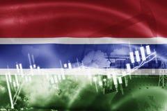 Σημαία της Γκάμπιας, χρηματιστήριο, οικονομία ανταλλαγής και εμπόριο, παραγωγή πετρελαίου, σκάφος εμπορευματοκιβωτίων στην εξαγωγ απεικόνιση αποθεμάτων
