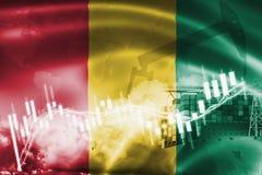 Σημαία της Γουινέας, χρηματιστήριο, οικονομία ανταλλαγής και εμπόριο, παραγωγή πετρελαίου, σκάφος εμπορευματοκιβωτίων στην εξαγωγ ελεύθερη απεικόνιση δικαιώματος