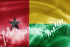Σημαία της Γουινέα-Μπισσάου, χρηματιστήριο, οικονομία ανταλλαγής και εμπόριο, παραγωγή πετρελαίου, σκάφος εμπορευματοκιβωτίων στη απεικόνιση αποθεμάτων