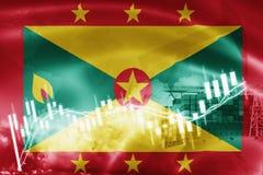 Σημαία της Γρενάδας, χρηματιστήριο, οικονομία ανταλλαγής και εμπόριο, παραγωγή πετρελαίου, σκάφος εμπορευματοκιβωτίων στην εξαγωγ ελεύθερη απεικόνιση δικαιώματος