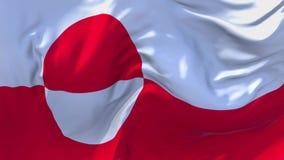 Σημαία της Γροιλανδίας που κυματίζει στο συνεχές άνευ ραφής υπόβαθρο βρόχων αέρα ελεύθερη απεικόνιση δικαιώματος