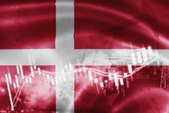 Σημαία της Δανίας, χρηματιστήριο, οικονομία ανταλλαγής και εμπόριο, παραγωγή πετρελαίου, σκάφος εμπορευματοκιβωτίων στην εξαγωγή  απεικόνιση αποθεμάτων