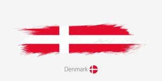 Σημαία της Δανίας, grunge αφηρημένο κτύπημα βουρτσών στο γκρίζο υπόβαθρο απεικόνιση αποθεμάτων