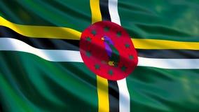 Σημαία της Δομίνικας Κυματίζοντας σημαία της τρισδιάστατης απεικόνισης της Δομίνικας ελεύθερη απεικόνιση δικαιώματος