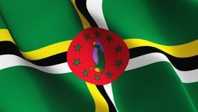 Σημαία της Δομίνικας που κυματίζει στον αέρα διανυσματική απεικόνιση