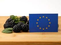 Σημαία της ΕΕ σε μια ξύλινη επιτροπή με τα βατόμουρα που απομονώνεται σε ένα λευκό Στοκ φωτογραφίες με δικαίωμα ελεύθερης χρήσης