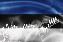 Σημαία της Εσθονίας, χρηματιστήριο, οικονομία ανταλλαγής και εμπόριο, παραγωγή πετρελαίου, σκάφος εμπορευματοκιβωτίων στην εξαγωγ απεικόνιση αποθεμάτων