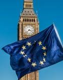 Σημαία της Ευρωπαϊκής Ένωσης μπροστά από Big Ben, ΕΕ Brexit Στοκ Φωτογραφία