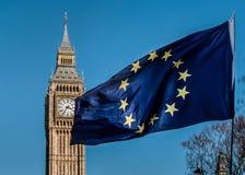 Σημαία της Ευρωπαϊκής Ένωσης μπροστά από Big Ben, ΕΕ Brexit Στοκ φωτογραφία με δικαίωμα ελεύθερης χρήσης