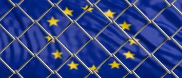Σημαία της Ευρωπαϊκής Ένωσης πίσω από ένα πλέγμα χαλύβδινων συρμάτων τρισδιάστατη απεικόνιση ελεύθερη απεικόνιση δικαιώματος
