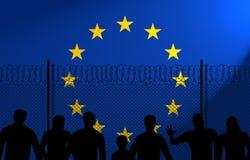 Σημαία της Ευρωπαϊκής Ένωσης πίσω από τον ασφαλή φράκτη απεικόνιση αποθεμάτων