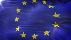 Σημαία της Ευρωπαϊκής Ένωσης που κυματίζει στον ήλιο Άνευ ραφής βρόχος με την ιδιαίτερα λεπτομερή σύσταση υφάσματος Βρόχος έτοιμο φιλμ μικρού μήκους