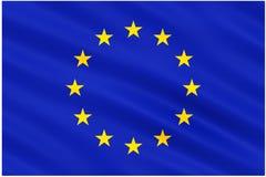 Σημαία της Ευρωπαϊκής Ένωσης στο λευκό Στοκ Φωτογραφία