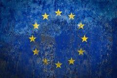 Σημαία της Ευρώπης που χρωματίζεται σε έναν τοίχο στοκ φωτογραφία