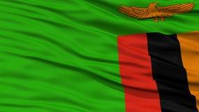 Σημαία της Ζάμπια κινηματογραφήσεων σε πρώτο πλάνο Στοκ Εικόνες