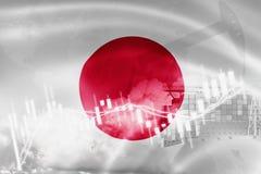 Σημαία της Ιαπωνίας, χρηματιστήριο, οικονομία ανταλλαγής και εμπόριο, παραγωγή πετρελαίου, σκάφος εμπορευματοκιβωτίων στην εξαγωγ απεικόνιση αποθεμάτων