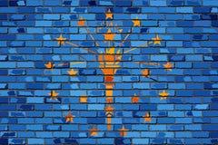 Σημαία της Ιντιάνα σε έναν τουβλότοιχο διανυσματική απεικόνιση