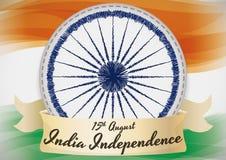 Σημαία της Ινδίας με Ashoka Chakra στο σχέδιο ραπτικής για τη ημέρα της ανεξαρτησίας απεικόνιση αποθεμάτων