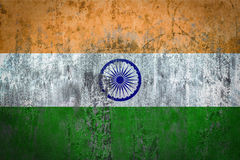 Σημαία της Ινδίας που χρωματίζεται σε έναν τοίχο Στοκ Εικόνα