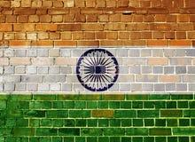 Σημαία της Ινδίας σε έναν τουβλότοιχο Στοκ Εικόνες