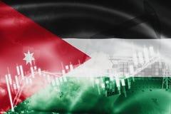 Σημαία της Ιορδανίας, χρηματιστήριο, οικονομία ανταλλαγής και εμπόριο, παραγωγή πετρελαίου, σκάφος εμπορευματοκιβωτίων στην εξαγω διανυσματική απεικόνιση
