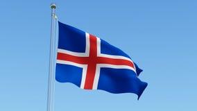 Σημαία της Ισλανδίας ενάντια στο σαφή μπλε ουρανό Στοκ Φωτογραφίες