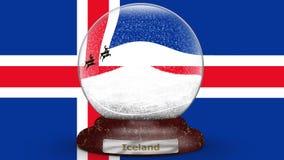 Σημαία της Ισλανδίας στη σφαίρα χιονιού απόθεμα βίντεο