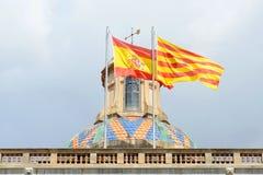 Σημαία της Ισπανίας και της Καταλωνίας, Βαρκελώνη, Ισπανία Στοκ Εικόνα