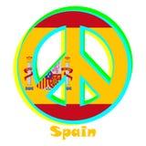Σημαία της Ισπανίας ως σημάδι του φιλειρηνισμού διανυσματική απεικόνιση