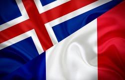 Σημαία της Ισλανδίας και σημαία της Γαλλίας διανυσματική απεικόνιση