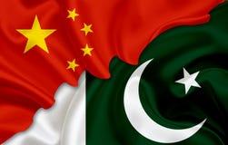 Σημαία της Κίνας και σημαία του Πακιστάν Στοκ Εικόνες