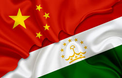 Σημαία της Κίνας και σημαία του Τατζικιστάν Στοκ εικόνα με δικαίωμα ελεύθερης χρήσης