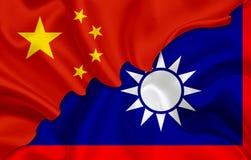 Σημαία της Κίνας και σημαία Tiawan Στοκ εικόνες με δικαίωμα ελεύθερης χρήσης